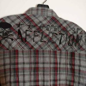 Affliction Mens Shirt Gray Red Plaid Long Sleeve M